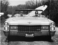 dave and pam in their caddy, montauk, ny by michael dweck