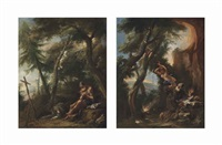 the penitent saint jerome in a wooded landscape; the temptation of saint anthony (pair) by alessandro magnasco