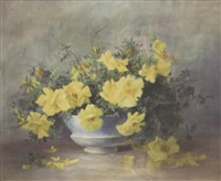 yellow flowers on a tabletop by lydia m. b. hubbard