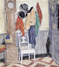 intérieur avec pendule et chaise blanche by henri louis philippe le roux