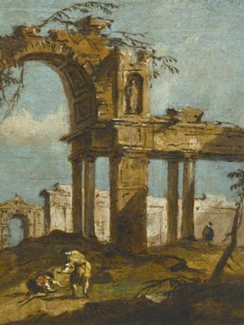 a capriccio of a ruined arch with figures in the foreground by francesco guardi