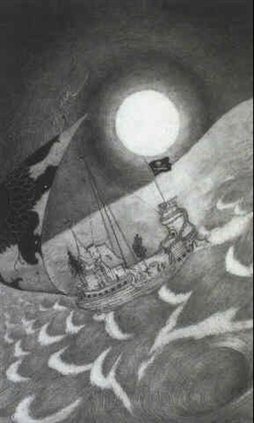 fantastic ship below a full moon by sidney h sime