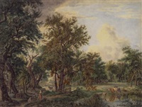 landscape with a watering place for cattle and two resting figures by pieter barbiers bartholomeusz