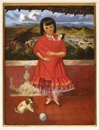 niña con rebozo rojo by horacio rentería rocha