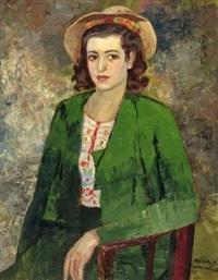 jeune femme au tailleur vert by nandor vagh-weinmann