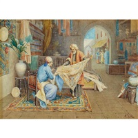 two middle eastern bazaar scenes: a pottery merchant; a tapestry merchant (pair) by paulo folchi