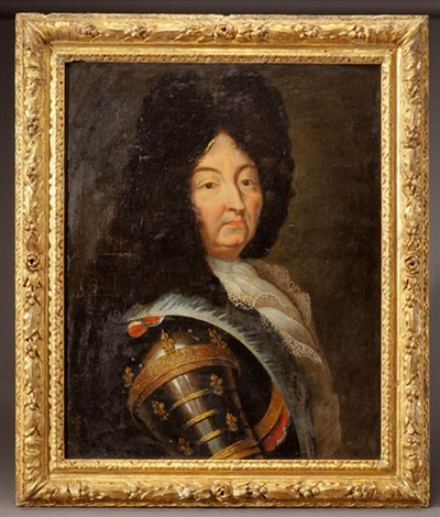 portrait dhomme en armure aux armes de france by french school 17