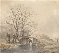 eisläufer an einem wintertag by andreas schelfhout