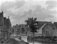 a view of the voldersgracht in haarlem, with a man crossing a bridge by franciscus andreas milatz