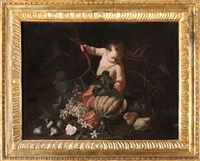 natura morta con frutta e putto (collab. w/antonio mercurio amorosi) by christian berentz