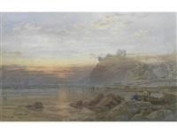 dunstanborough castle at dusk; pulling in the nets (pair) by samuel phillips jackson