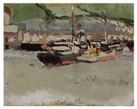 boats in a harbor by josé marie de la bastida y fernandez