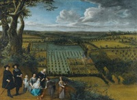 a family portrait said to be of the van der witte family, depicted on a rise overlooking their estate by gillis van tilborgh and jan siberechts