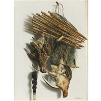 trompe l'oeil still life with two quails, a bird net and a whistle by jacobus biltius