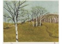 hill in spring by shinkichi (kaii) higashiyama