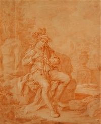 musician seated on ruins by françois boucher