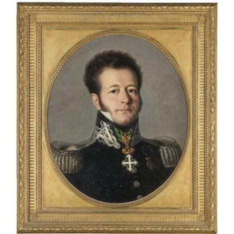 portrait of a gentleman bust length in military uniform by italian school piedmont 19