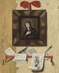 a trompe l'oeil with a letter rack, an engraving (after jacques callot) and a painting of the madonna by andrea domenico remps