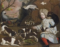 a boy in a blue coat and red stockings, with a marmuset on his shoulder, watching marlborough spaniels by anglo-dutch school (17)