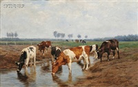 cattle watering by hermann baisch