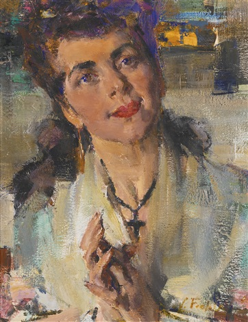 Portrait of a young woman by nicolai fechin on artnet for Nicolai fechin paintings for sale