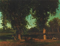resting under a tree during harvesting by gerolamo trenti