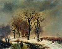 figures in a wooded snow scene by barend cornelis koekkoek