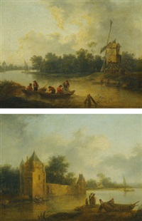 river landscape with a windmill (+ river landscape with a fortified house; pair) by christian hilfgott brand
