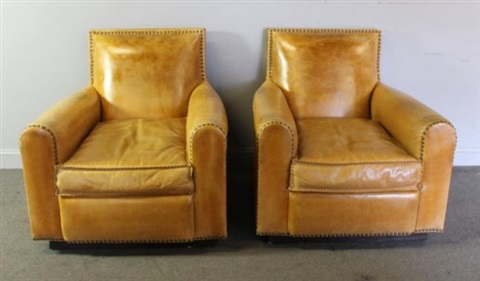 Pair Of Ralph Lauren Hand Stitched Custom Leather Club Chairs By Ralph  Lauren