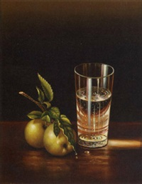 still life of glass of water and apples by jung myung