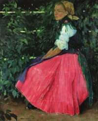 study of a young woman seated in a garden by istvan zador