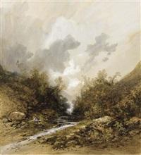 femme assise et son chien au bord d'une rivière by gabriel hippolyte le bas