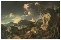 a mountainous rocky landscape with the flight into egypt by augusto rosa