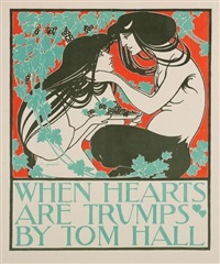 when hearts are trumps, pl. 52 (+ 3 others from les maîtres de l'affiche; 4 works) by william bradley