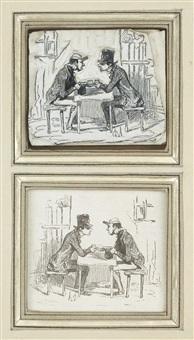 les français peints par eux-mêmes - les dettiers (set of 2) by honoré daumier