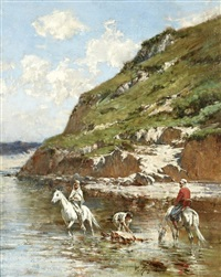 cavaliers dans l'oued, riders in a oued by victor pierre huguet