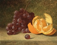 still life with orange and grapes by william huston
