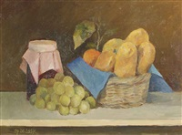 a still life with bread, fruits and jam by harry op de laak