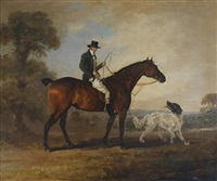 a gentleman seated upon a hunter with spaniel beside by philipp reinagle