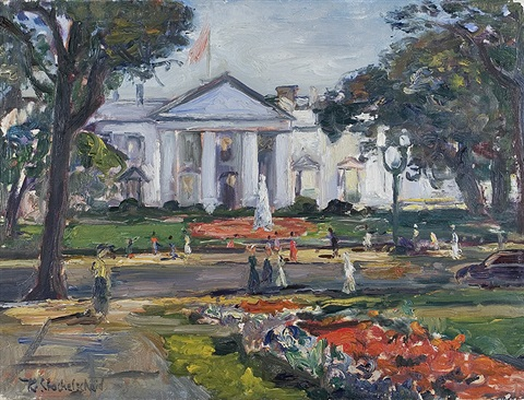 in front of the white house in washington by karl stachelscheid