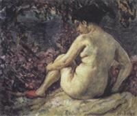 femme nue sous la glycine by clovis cazes