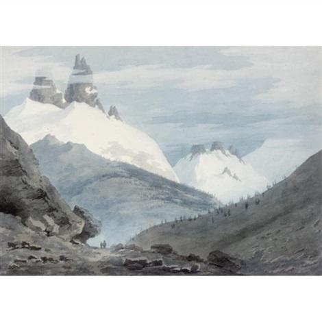between chamonix and martigny - the aiguille verte by john robert cozens