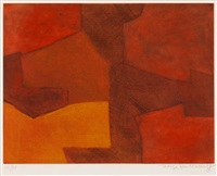 composition in orange and red by serge poliakoff