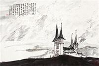 冰岛首都 镜心 设色纸本 by ya ming