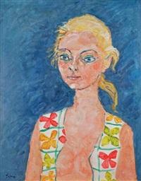 portrait de jeune femme au corsage imprimé by paul aïzpiri