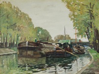 boats on the river by john william (sir) ashton