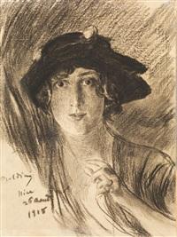 ritratto di giovane donna con cappello by giovanni boldini