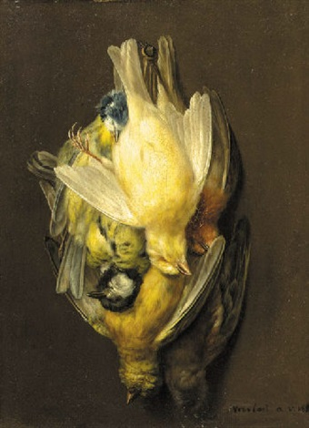 a still life with a robin, a blue tit, a great tit and other birds hanging from a robe by augustine vervloet
