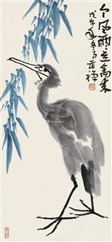 鹭鸶 镜片 纸本 by li kuchan