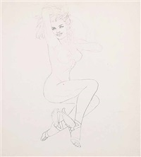 untitled - study of a young nude with wings on her feet by alberto vargas